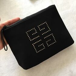Givenchy Black Rubberized Perforated Logo Makeup Cosmetic Case Pouch Travel Bag