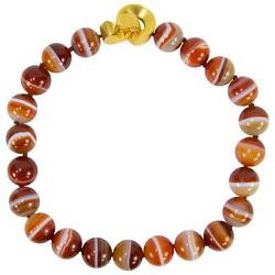 Beautiful Large Carnelian Banded Agate Bead Statement Necklace