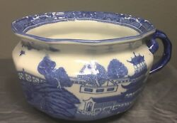 Victoria Ware Ironstone Flow Blue Chamber Pot Japanese Scenery 9 X 5.25