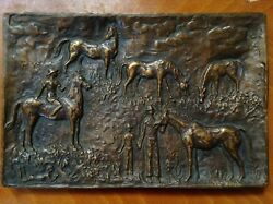 Antique Xlarge Hungary Bronze Relief Medal Plaque Child Horse Female Artist Wood