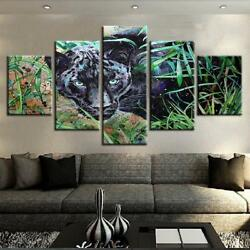 Black Panther in the Wild 5 piece Canvas Wall Art Picture Printed Home Decor