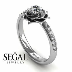 Engagement Ring 14k White Gold - A Lady's Rose Diamond Ring Natural Diamonds