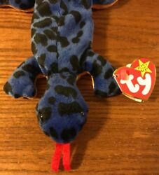 Ty Lizzy The Lizard Beanie Baby 1995 Style Pvc Pellets,no Star,no Tush Tag Stamp