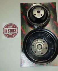 Steel Black Small Block Chevy Sbc Long Water Pump Pulley And Crank Pulley Set