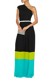 Michael Kors Collection One Shoulder  Pleated Crepe Maxi Dress Size 6 $3995