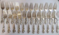One 1 Watson Wallace Meadow Rose Sterling Silver 6-1/8andrdquo Salad Dessert Fork