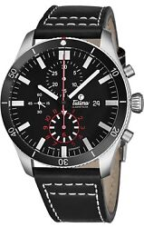 Tutima Menand039s Grand Flieger Black Dial Black Leather Automatic Watch 6401-01