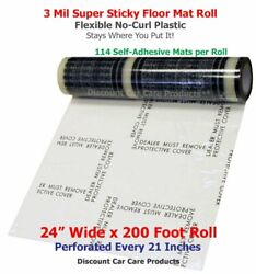Sticky Floor Mats 24andrdquo Wide X 200andrsquo Roll   21andrdquo Perforated Adhesive Floor Mats 3mil