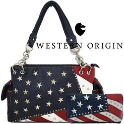 American Flag Stars and Stripes Women Leather Handbag Country Purse  Wallet