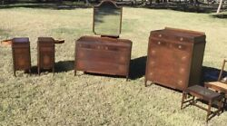 RARE Antique Vintage 1900s French Deco Flame Mahogany Bedroom Set Nightstands
