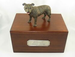 Beautiful Paulownia Wooden Personalized Urn Staffordshire Bull Terrier Figurine