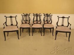 Lf29333ec Set Of 8 Black Lacquer And Silver Dining Room Chairs W. Swans