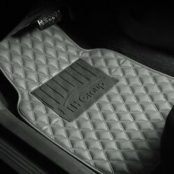 Universal Leather Floor Mats For Car Auto Diamond Pattern All Weather Gray