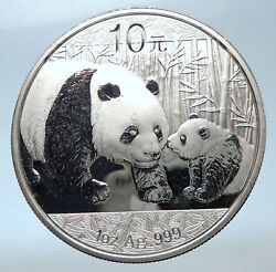 2011 China Silver 10 Yuan Chinese Coin Panda Mom W Cub And Temple Of Heaven I73910