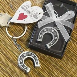 25-144 Lucky Horseshoe W/ Rhinestones Key Rings Chains - Wedding Party Favors