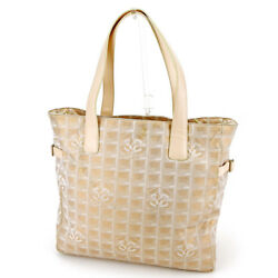 Chanel Tote bag New travel line Beige  Woman Authentic Used T4074