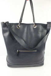Tote Bag  Bucket LONGCHAMP Leather Veal calfskin Grained Navy Blue MINT