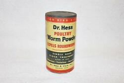 Old Full 4 Oz Tin Dr. Hess Poultry Worm Powder Expels Roundworms Ashland Oh-bl