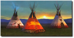 Blackfeet Country By R. Tom Gilleon - Tipi - Indian Art - Museum Edition Canvas