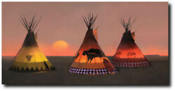 Indian Sunset Ii By R. Tom Gilleon - Tipis - Indian Art - Museum Ed. Canvas