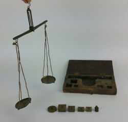 Antique Vintage Portable Box Weighing Hand Scale Dohlon Onza Wood Brass Spain $134.99