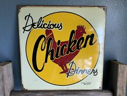 "DELICIOUS CHICKEN DINNERY RUSTICVINTAGE METAL SIGN  11.5""X 11.5"""