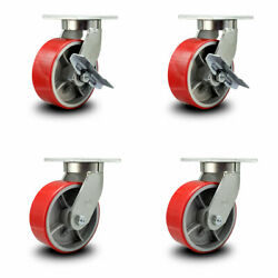 Scc 8andrdquo Hd Red Poly On Metal Caster Set Andndash2 W/brake And Swivel Lock/2 W/ Swivel Lock