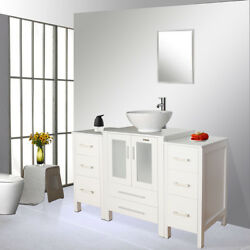 48 White Bathroom Cabinet Small Side Vanity Set Vessel Sink Faucet Mirror Combo