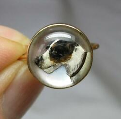 Jack Russell Terrier Dog Ring Essex Rock Crystal 18K Gold Victorian Dogs Rare!