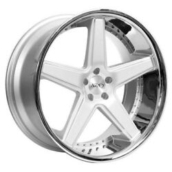 New/4rims 20 Staggered Azad Wheels Az008 Silver Brushed W Chrome Popular Rims