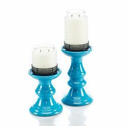 Turquoise Candle Stands Set of 2 Gold Canyon Candle