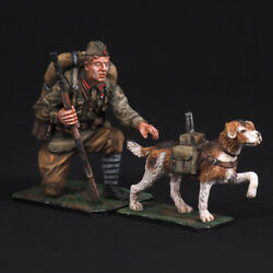 Tin Soldier The leader of the Red Army with a dog - tank destroyer WW2 54 mm