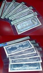 5 Consecutive Asterisk Replacement /star S/s Bank Of Canada 1954 5 Pmg 65 Epq