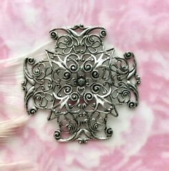 Antique Silver Cross Filigree Stamping Jewelry Oxizided Finding Cb-3043