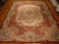 12and039 X 18and039 Needlepoint Wool Handmade Cream Petit Point Fine Aubusson Style Rug
