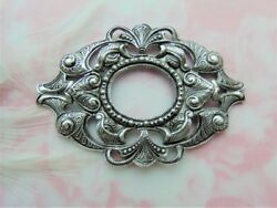 Antique Silver Large Oval Scroll Filigree Ornate Frame Stamping C-1005b