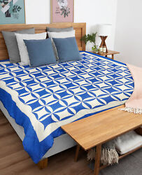 Blue And White Patchwork Orange Peel Finished Quilt - Queen