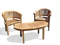 Windsorand039s Premium Grade A Teak 3pc Set 2 Curved Arm Chairs And Kidney Shape Table