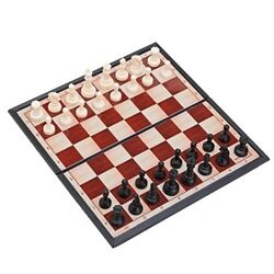 Magnetic Portable Holding Travel Chess Set Classic Black White 7 x 7 Inch