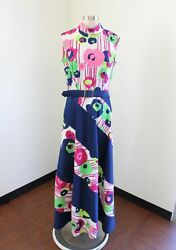 Vtg 70s Blue Pink Green Floral Striped Printed Maxi Dress Hippie Bohemian Size M