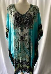 Nwot Parker Blue Beaded Caftan With Paisley Print. One Size Fits All