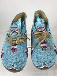 Vintage Authentic Souix Tribe Full Beaded Moccasins Blue Native American Indian