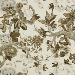 Schumacher English Country Cabbage Roses Blooms And Birds Fabric 10 Yards Ivory