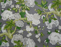 Schumacher English Country Cabbage Roses Blooms And Birds Fabric 10 Yards Gray