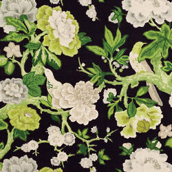 Schumacher English Country Cabbage Roses Blooms And Birds Fabric 10 Yards Black