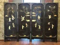 Vintage Chinese/japanese Screen With Figure Decoration Sell As Isno Returns