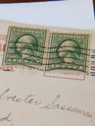 Original 1914 - Two -1 Cent George Washington Green Stamps