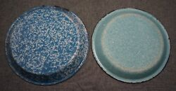 Graniteware Agateware Enamelware Blue And White Pie Plates 2 - 9 3/4 And 9 1/8
