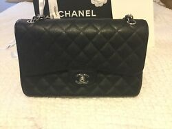 Chanel Classic Quilted Double Flap Bag Jumbo Black Caviar wsilver
