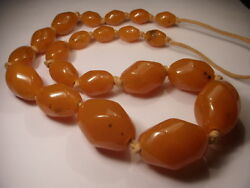 Magnificent Antique Natural Old Black Sea Graduated Amber Bead Necklace